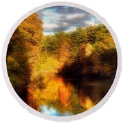 Golden Autumn Round Beach Towel by Joann Vitali