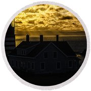 Golden Backlit West Quoddy Head Lighthouse Round Beach Towel