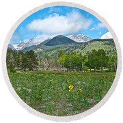 Golden Banner In Horseshoe Park In Rocky Mountain Np-co- Round Beach Towel