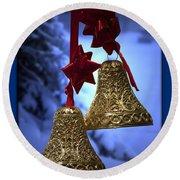 Golden Bells Blue Greeting Card Round Beach Towel