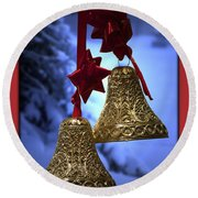 Golden Bells Red Greeting Card Round Beach Towel