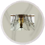 Golden Bird Round Beach Towel