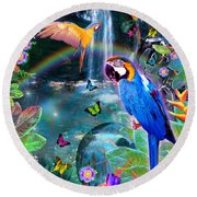 Golden Bluebirds Paradise Version 2 Round Beach Towel