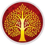 Golden Bodhi Tree No.1 Round Beach Towel