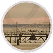 Golden Bridge Round Beach Towel