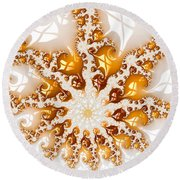 Golden Brown And White Luxe Abstract Art Round Beach Towel