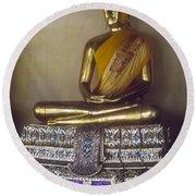 Golden Buddha On Pedestal Round Beach Towel