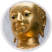 Golden Buddha Statue Round Beach Towel