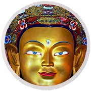 Golden Buddha Round Beach Towel