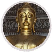 Golden Buddha Temple Statue Round Beach Towel by Antony McAulay