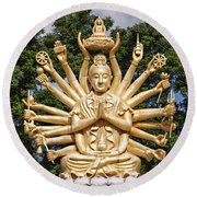 Golden Buddha With Many Arms Round Beach Towel