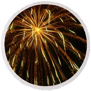 Golden Burst Round Beach Towel