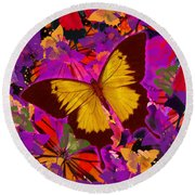Golden Butterfly Painting Round Beach Towel