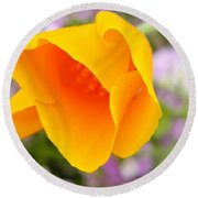 Golden California Poppy Round Beach Towel