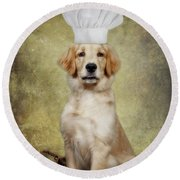 Golden Chef Round Beach Towel by Susan Candelario