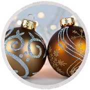 Golden Christmas Ornaments Round Beach Towel