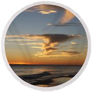 Golden Clouds And Blue Sky Round Beach Towel