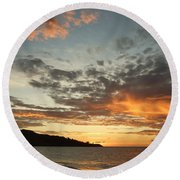 Golden Clouds At Grand Anse Round Beach Towel