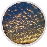 Golden Clouds Round Beach Towel