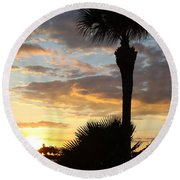 Golden Clouds Over Tampa Bay Round Beach Towel