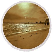 Golden Coast Sunset Round Beach Towel