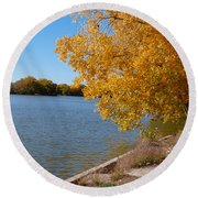 Golden Cottonwoods Round Beach Towel