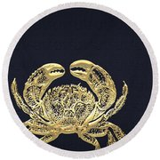 Golden Crab On Charcoal Black Round Beach Towel