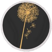 Golden Dandelion Round Beach Towel
