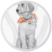 Trash Talking Golden Doodle Round Beach Towel