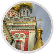 Golden Domes Of Russian Church Round Beach Towel