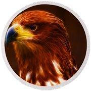 Golden Eagle Eye Fractalius Round Beach Towel