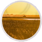 Golden End Of Day  Round Beach Towel