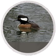 Hooded Merganser Reflections Round Beach Towel
