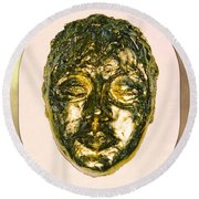 Golden Face From Degas Dancer Round Beach Towel