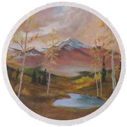Golden Fire Of Autumn Round Beach Towel