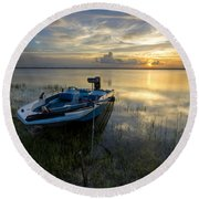 Golden Fishing Hour Round Beach Towel