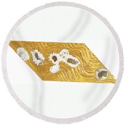 Golden Flow Stream Round Beach Towel