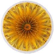 Golden Flower Round Beach Towel