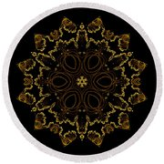 Golden Flower Of The Night Round Beach Towel