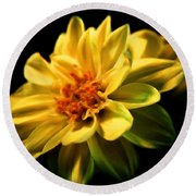 Golden Flower  Round Beach Towel