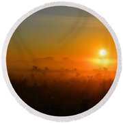 Golden Foggy Morning Round Beach Towel