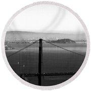 Golden Gate And Bay Bridges Round Beach Towel
