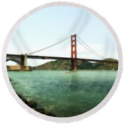 Golden Gate Bridge 2.0 Round Beach Towel by Michelle Calkins