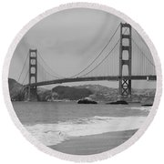 Golden Gate Bridge And Beach Round Beach Towel