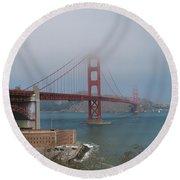 Golden Gate Bridge And Fort Point Round Beach Towel