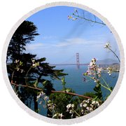 Golden Gate Bridge And Wildflowers Round Beach Towel