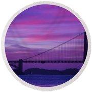 Golden Gate Bridge At Twilight Round Beach Towel