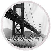 Golden Gate Bridge Ballet Round Beach Towel