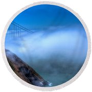 Golden Gate Bridge In The Fog Round Beach Towel