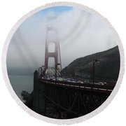 Golden Gate Bridge Pylons In A Mist Round Beach Towel